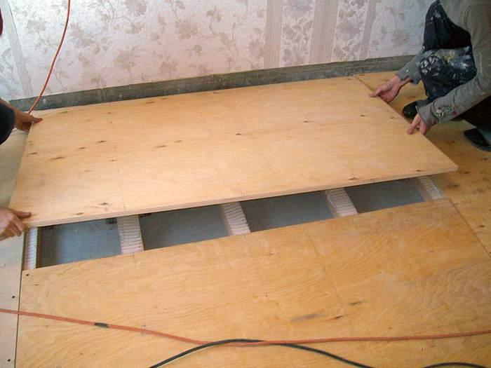 Укладка напольного покрытия на лаги