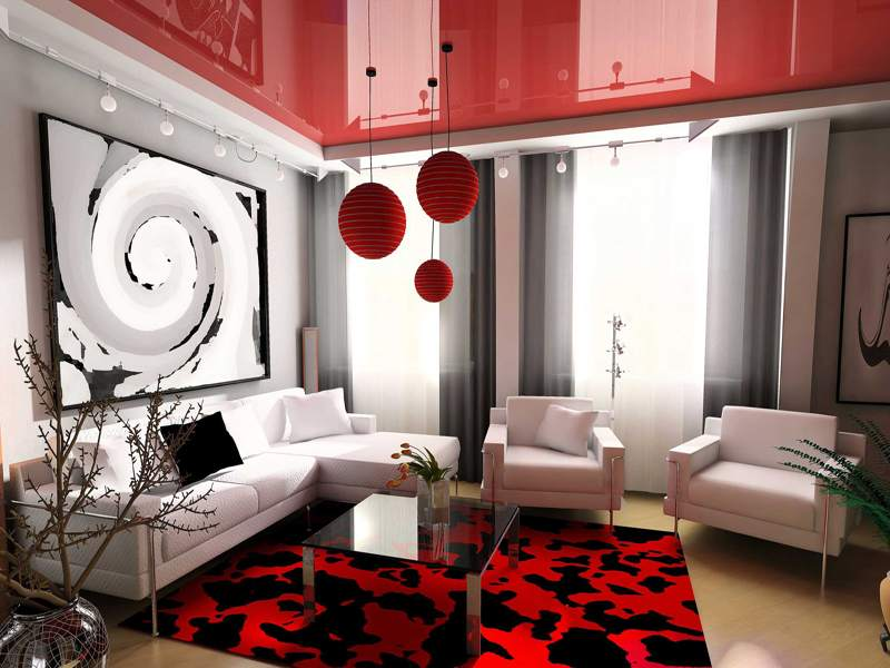 Выбираем цвет потолка в зале