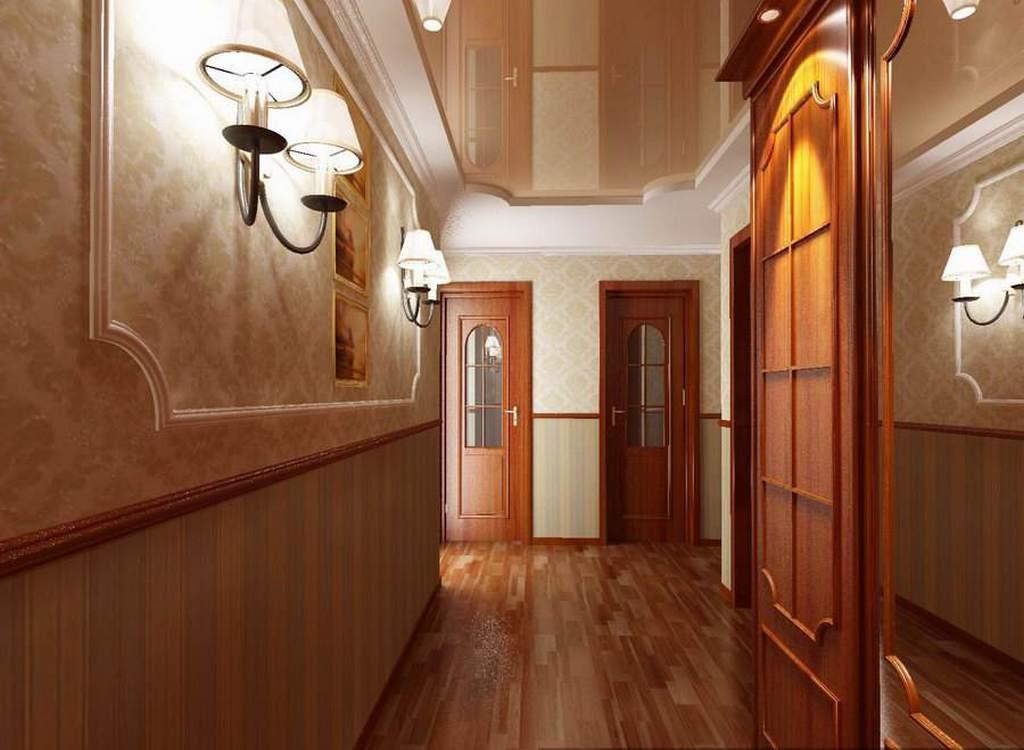 Натяжной потолок в коридоре может смотреться очень эффектно