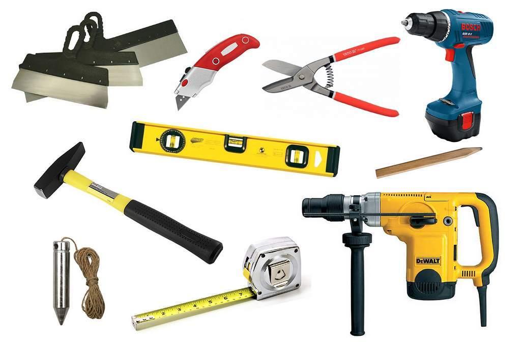 Инструментарий, необходимый для монтажа ГКЛ конструкций
