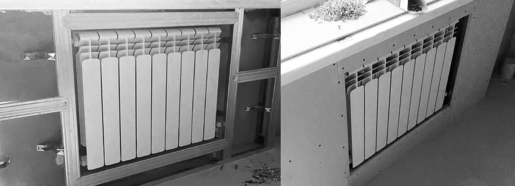 Гипсокартонная ниша для радиатора