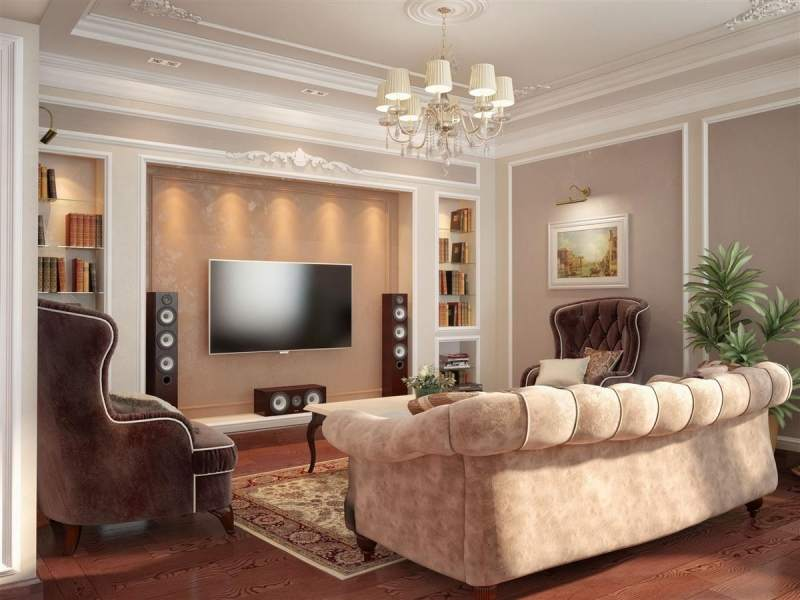 Такую красивую нишу под телевизор вы можете изготовить своими руками
