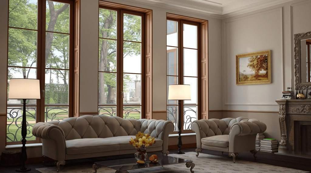 Панорамные окна с деревянными профилями
