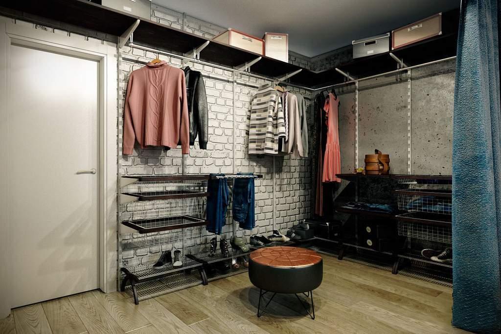 Прихожая в стиле лофт перекликается с общим оформлением квартиры