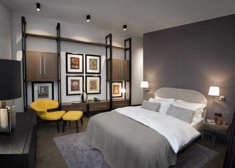 Простота и спокойствие конструктивистской спальни
