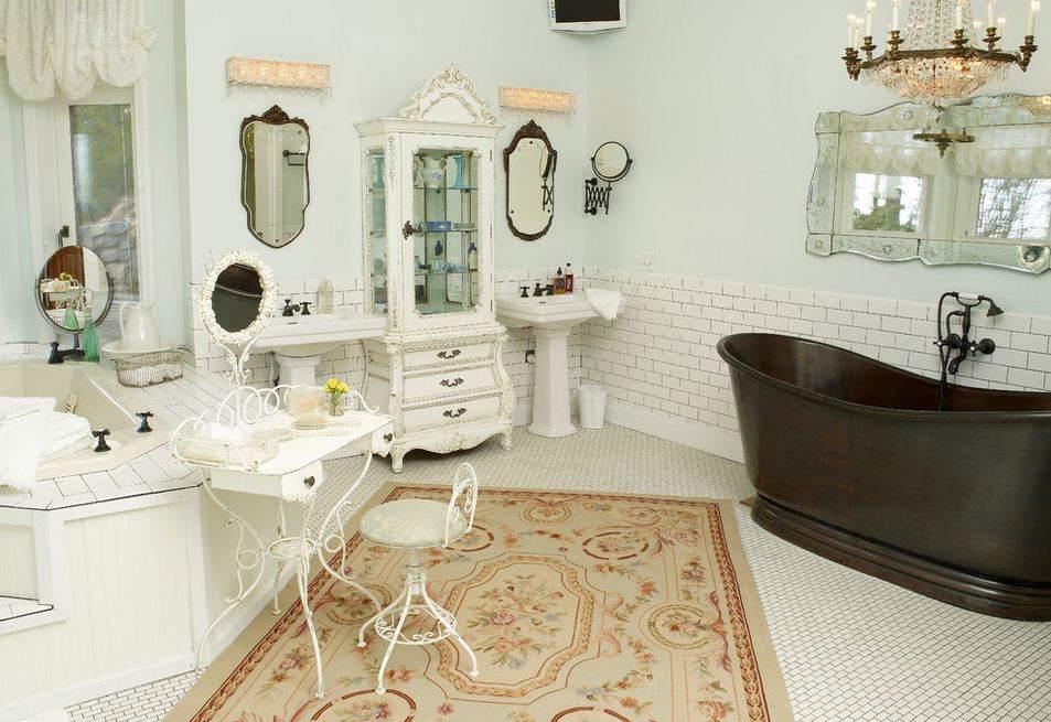 Ванная, оформленная в стиле шебби шик