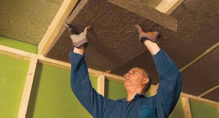 Шумоизоляция потолочного перекрытия минеральными плитами