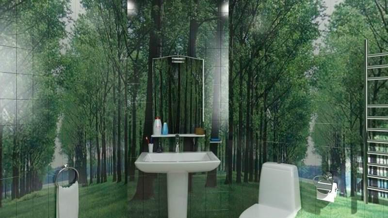 Фотопечать на плитке: лесной пейзаж в санузле создаст иллюзию пространства