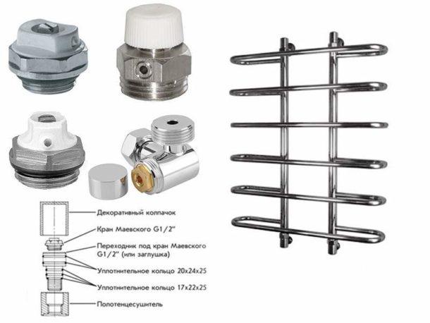 Кран Маевского дает возможность при необходимости стравливать воздух из труб