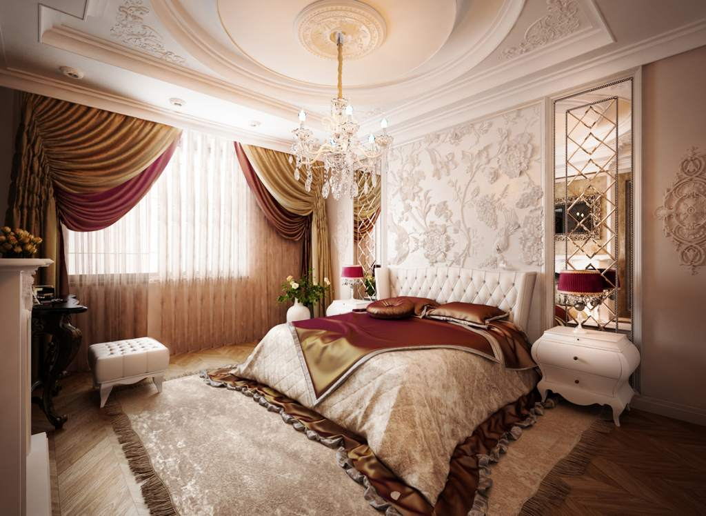 Эффектные шторы в классическом интерьере перекликаются с торшерами и покрывалом на кровати