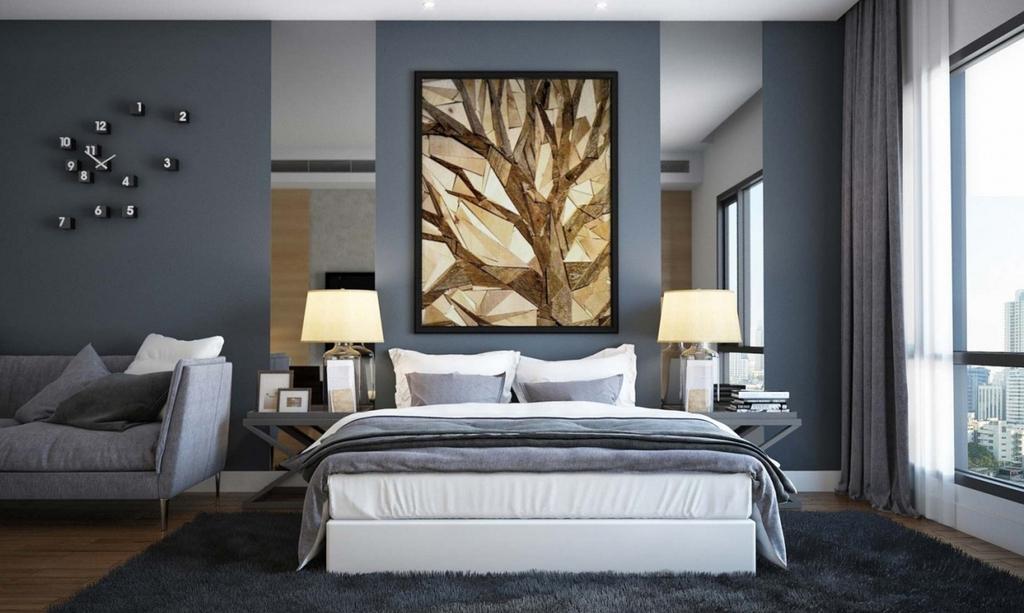 Модная спальная комната 2016 со стильными шторами в пол