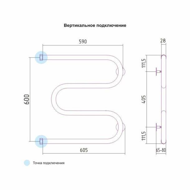 Классическую М-образную модель сушителя-змеевика со стандартным расстоянием между трубами подключить будет проще