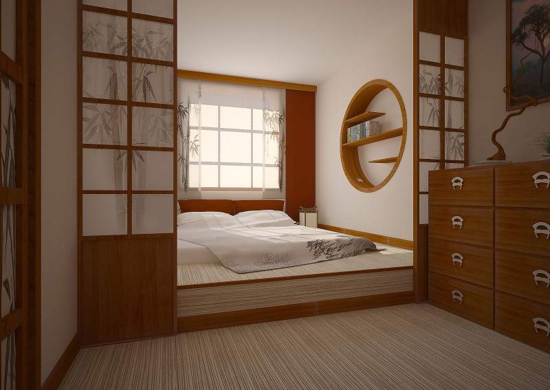Спальня-гостиная с подиумом в японском стиле