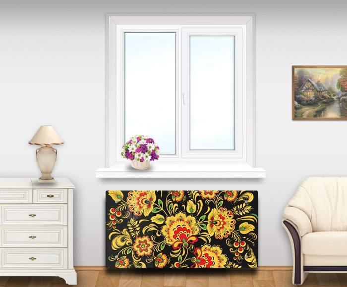 Экран для радиатора из закаленного стекла с принтом