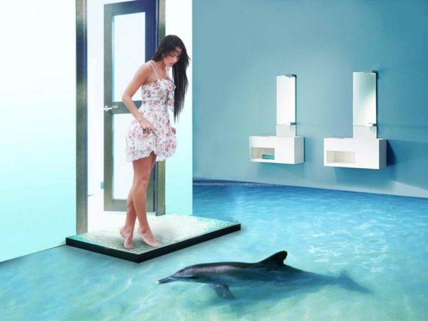 Объемные наливные полы для ванной комнаты