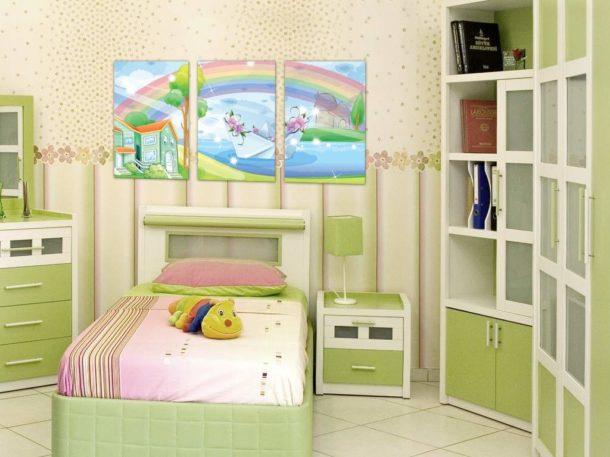 Модульное изображение в интерьере детской