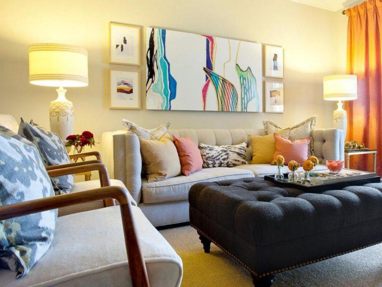 Фото дизайн стены над диваном