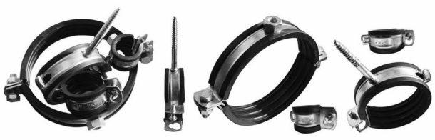 Специальные хомуты для фиксации стояка с резиновой звукоизоляционной прокладкой