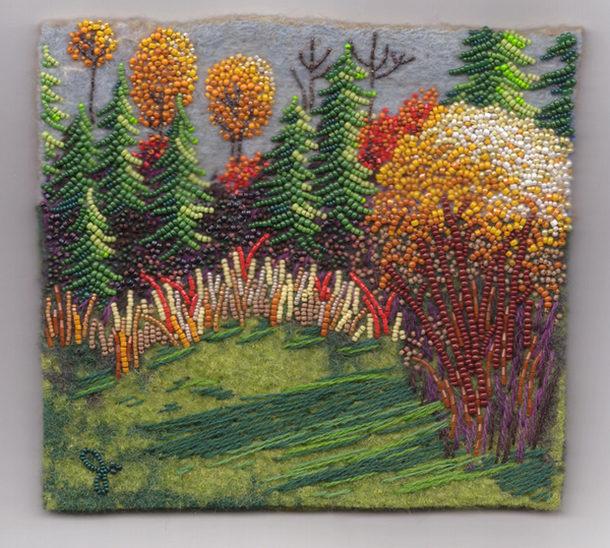 Лесной пейзаж, выложенный бисером