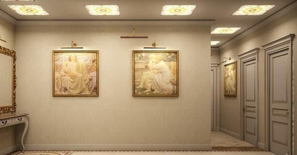 Картины в просторной классической прихожей