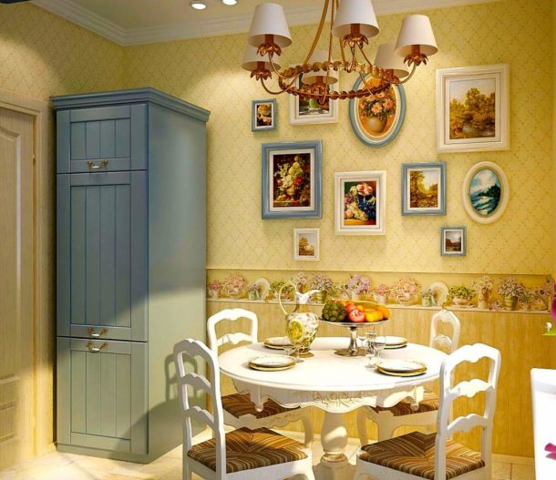 Натюрморты и пейзажи особенно уместны в кухне в стиле прованс