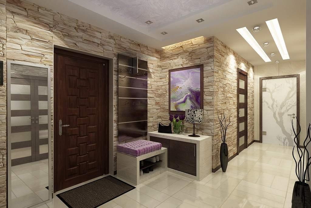 Дизайн прихожей в квартире с камнем