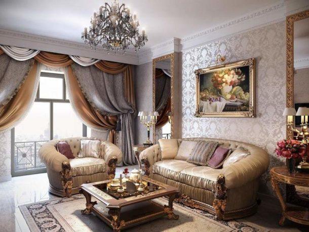 Массивная одиночная картина над диваном