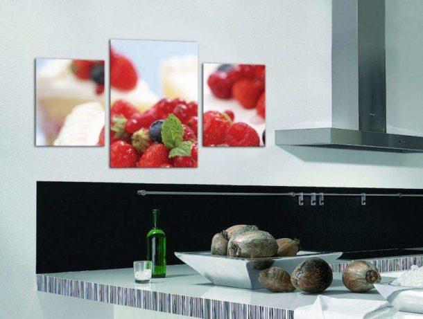 Триптих в кухонном интерьере