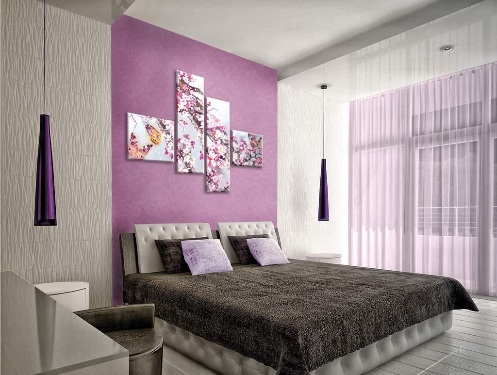 модульная картина в спальню над кроватью фото