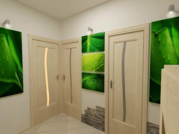 Украшение модульными полотнами просторного коридора