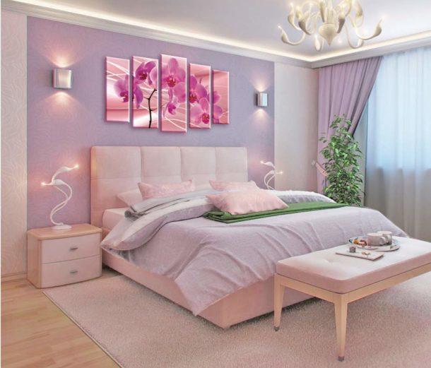 Орхидеи над кроватью по фэншуй
