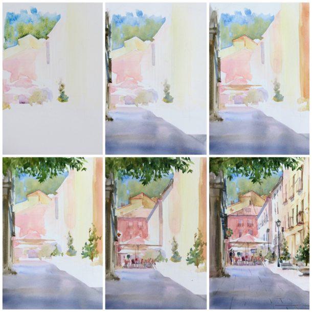 Поэтапное рисование городского пейзажа акварелью