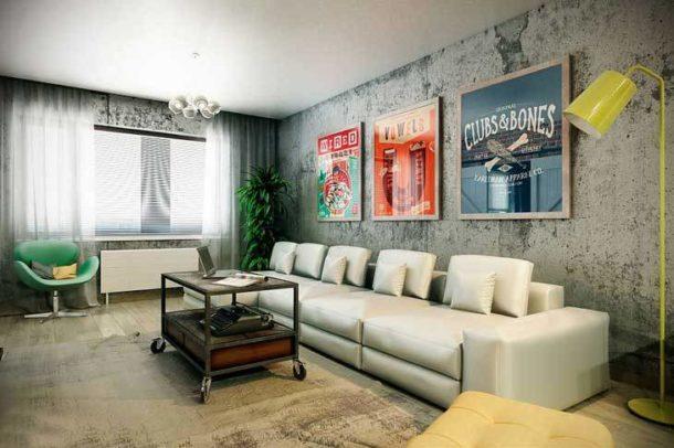 Размещение постеров над диваном в гостиной в стиле лофт