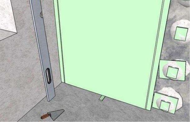 Клеим промежуточный слой полосок из ГКЛ на кривую стену