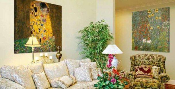 Репродукции полотен известных художников в интерьере квартиры