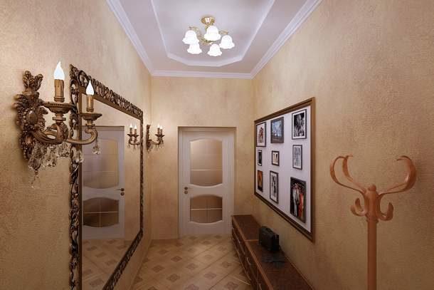 Оптимальное расположение картин и зеркала в узком помещении