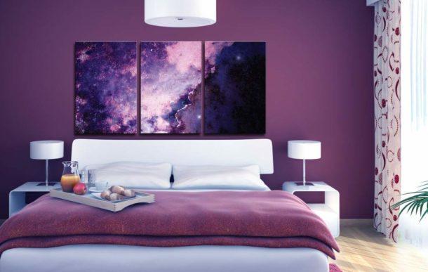 Декорирование спальни модульными изображениями - новая современная тенденция