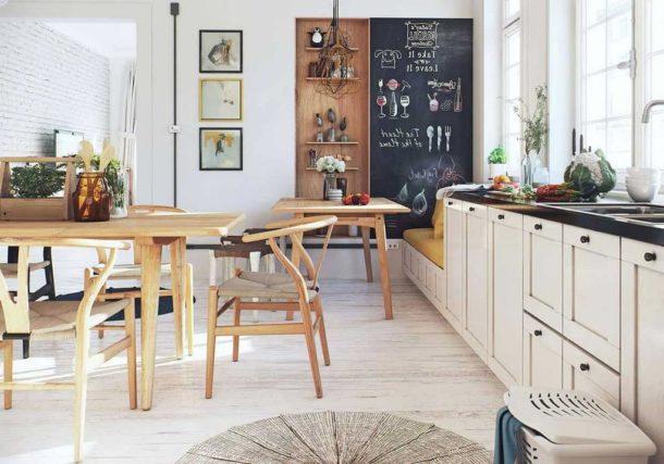 Самые узнаваемые черты - белые стены и деревянная мебель