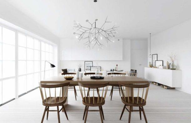 Деревянная мебель на белом фоне в духе Скандинавии
