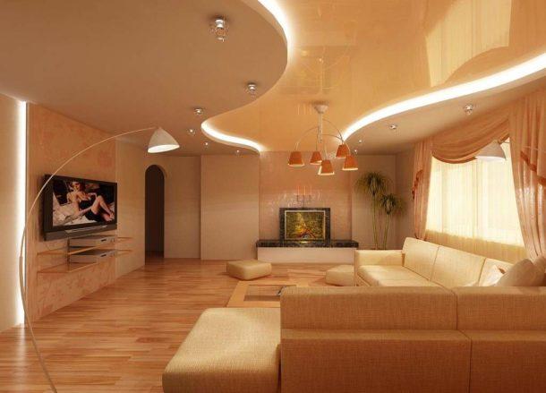 Двухуровневые натяжные потолочные покрытия для гостиной