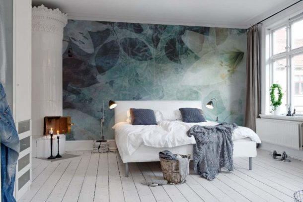 Фотообои для скандинавской спальни