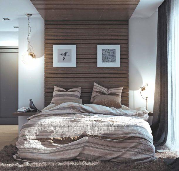 Маленькая уютная скандинавская спальня