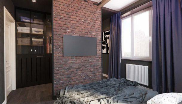 Кирпичная стенка в комнате для поклонников стиля лофт