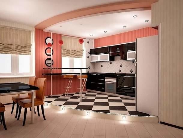 Многоуровневый пол на кухне, смонтированный в рамках евроремонта