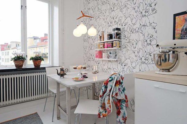 Кухня: выделение стены над обеденным столом