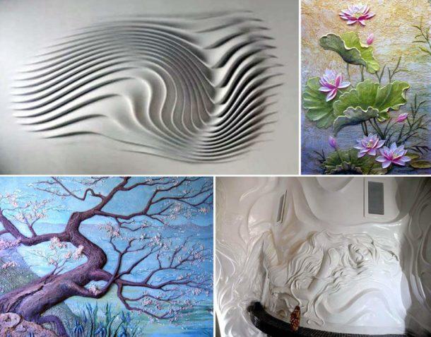 Потрясающие объемные композиции на стене, выполненные из гипса