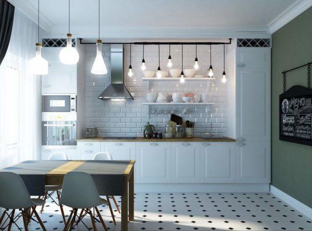 Освещение кухни в скандинавском стиле