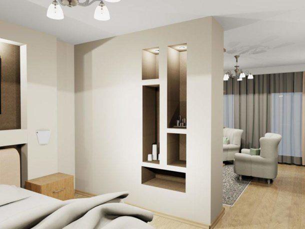 Перегородка из ГКЛ, отделяющая зону для сна от гостиной