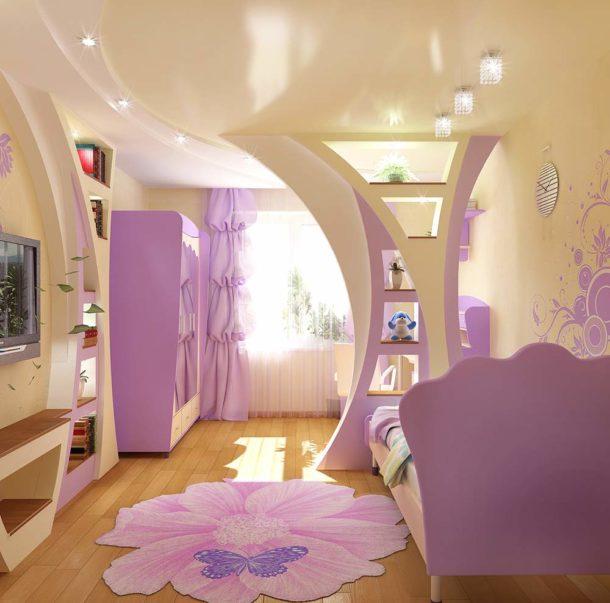 Стильная перегородка в комнате для девочки, отделяющая рабочую зону от спальной