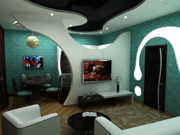 Фигурная конструкция для зонирования квартиры-студии